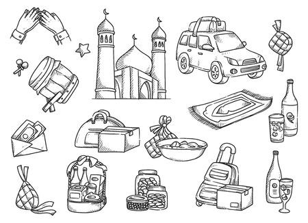 Eid mubarak doodle set vector illustration.