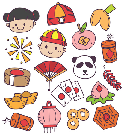 Chinese new year doodle vector illustration.