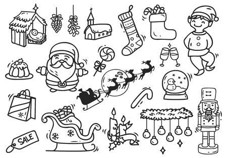 Set of Christmas doodle vector illustration.