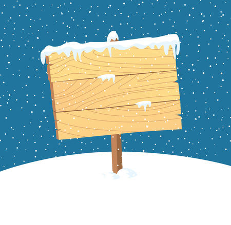 plywood: Cartoon wooden sign with snow background Illustration