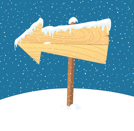 plywood: Wooden plank on snowy background Illustration