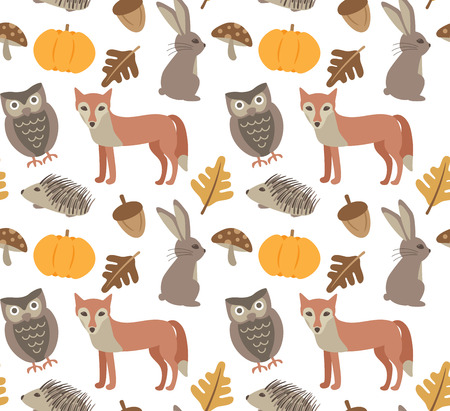 Autumn animal seamless background Illustration