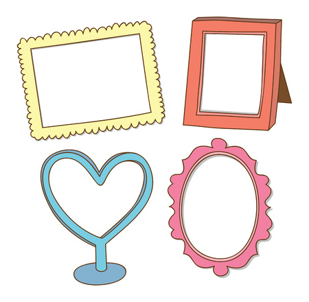 Set of cute frame doodle isolated on white background Иллюстрация