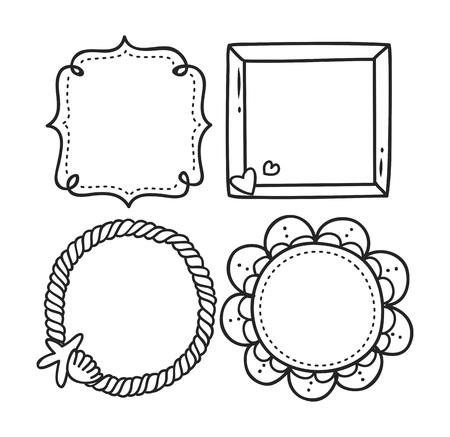 Niedlichen Rahmen in Doodle-Stil Standard-Bild - 85937556
