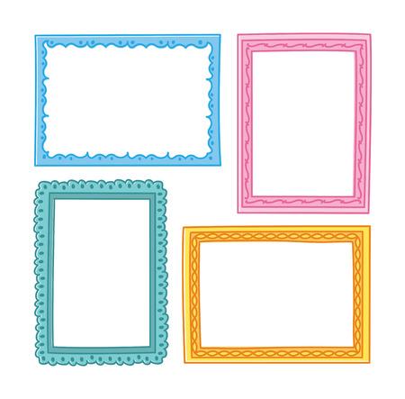 Set von Frame Doodle isoliert auf weißem Hintergrund. Standard-Bild - 85053315