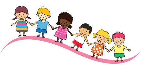 Kinder aufgereiht. Standard-Bild - 85937558