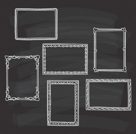 Set of frame doodle isolated on white background. Imagens - 85053316