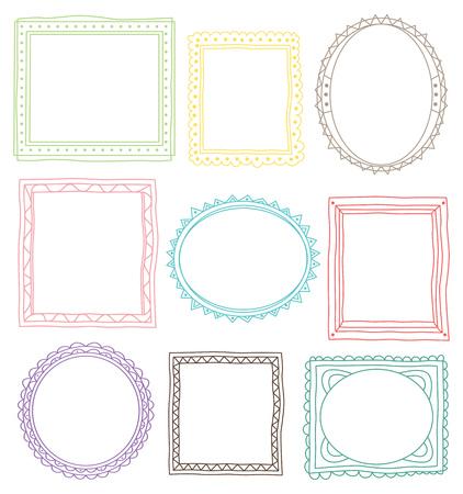 Set of frame doodle isolated on white background. Imagens - 85053318