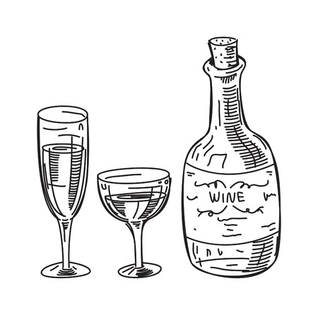 Sketchy illustration of wine. Фото со стока - 85937559