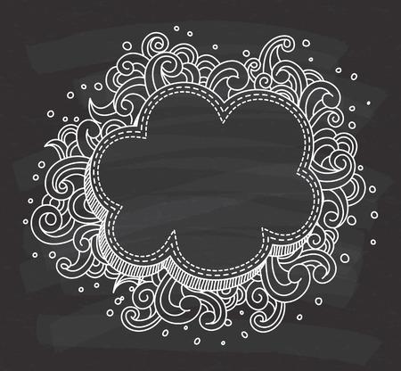 decorative cloud shape frame on chalkboard background