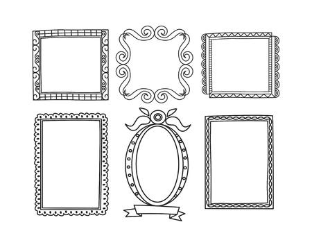 Set of frame doodle isolated on white background. Standard-Bild - 85053322