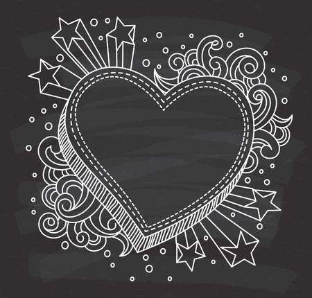 decorative heart shape frame on chalkboard background Imagens - 85937561
