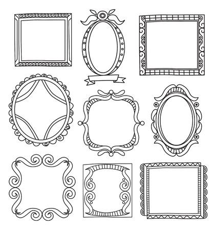Set von Frame Doodle isoliert auf weißem Hintergrund. Standard-Bild - 85053364