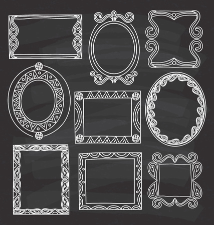 Set von Frame Doodle isoliert auf weißem Hintergrund. Standard-Bild - 85053367