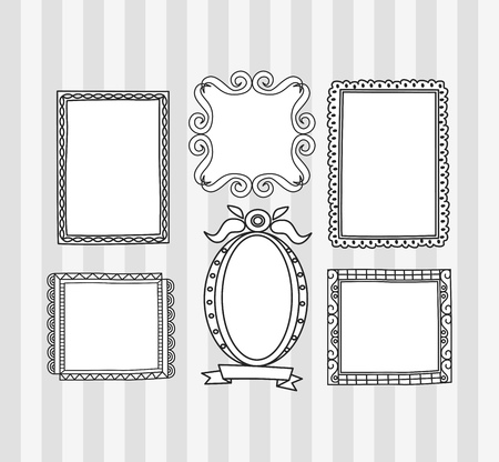 Set of frame doodle isolated on white background. Standard-Bild - 85053366