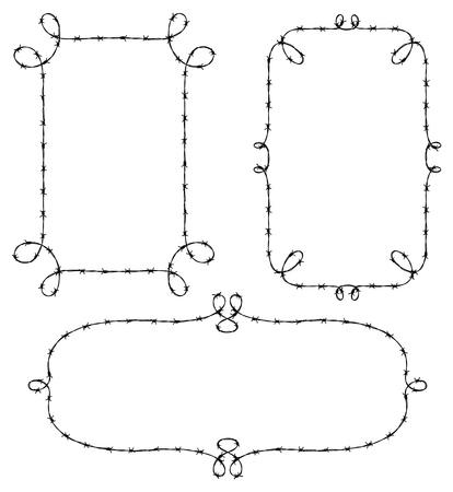 zestaw ramek z drutu na białym tle