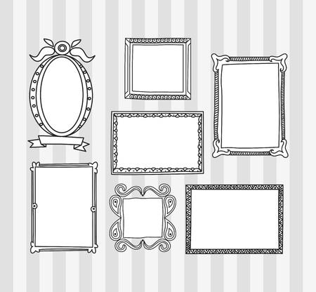 Set von Frame Doodle isoliert auf weißem Hintergrund. Standard-Bild - 85053372