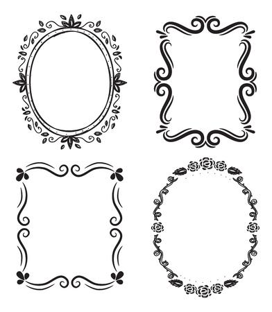 Set of floral frame doodle.