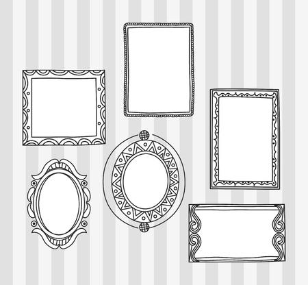 Set of frame doodle isolated on white background. Imagens - 85053378