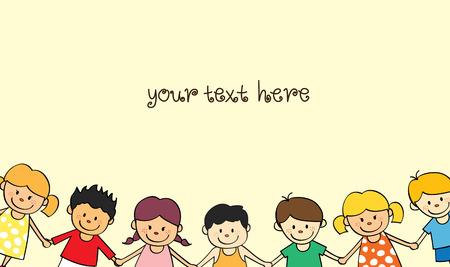 Glückliche Kinder mit Platz zum Hinzufügen von Text. Standard-Bild - 85877607