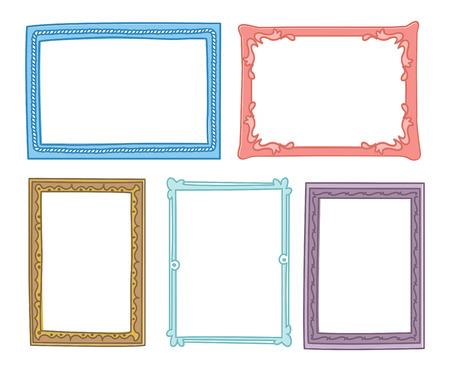 Set of frame doodle isolated on white background. Imagens - 85053394