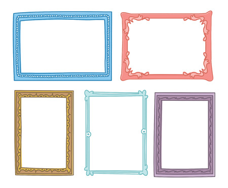 Set von Frame Doodle isoliert auf weißem Hintergrund. Standard-Bild - 85053394