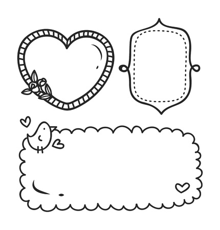 Cute frame in doodle style. Иллюстрация