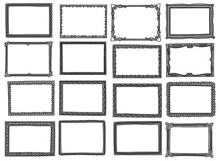Set von Frame Doodle isoliert auf weißem Hintergrund. Standard-Bild - 85053400