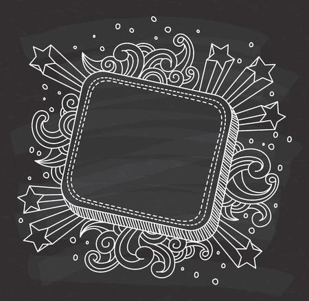 Decorative frame on chalkboard background.