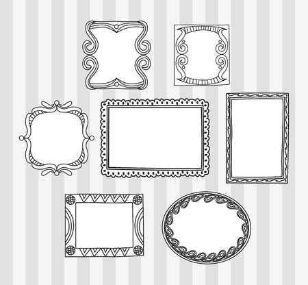 Set of frame doodle isolated on white background. Ilustração