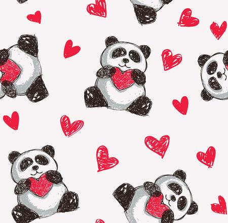 Panda, der Herzhintergrund hält. Standard-Bild - 85877614