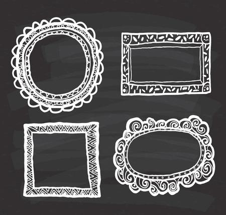 Set von Frame Doodle isoliert auf weißem Hintergrund. Standard-Bild - 85053411