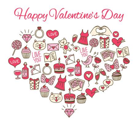 Satz der Valentinsgrußikone in der Herzform. Standard-Bild - 85877616