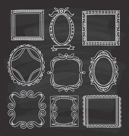 Set von Frame Doodle isoliert auf weißem Hintergrund. Standard-Bild - 85053414