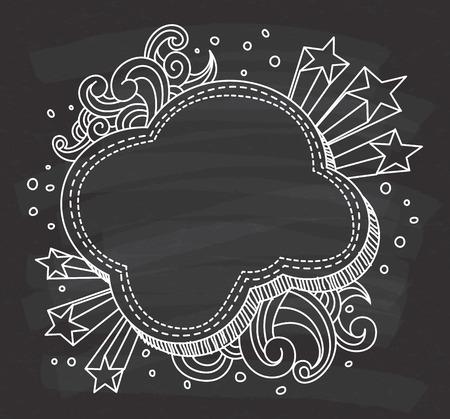 Decorative cloud shape frame on chalkboard background. Imagens - 85877618
