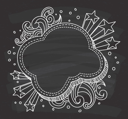 Decorative cloud shape frame on chalkboard background. Иллюстрация