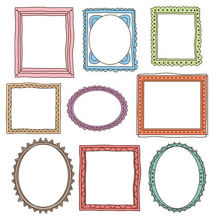Set of frame doodle isolated on white background Иллюстрация