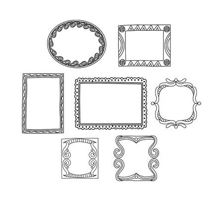 Satz des Rahmengekritzels lokalisiert auf weißem Hintergrund Standard-Bild - 85053424