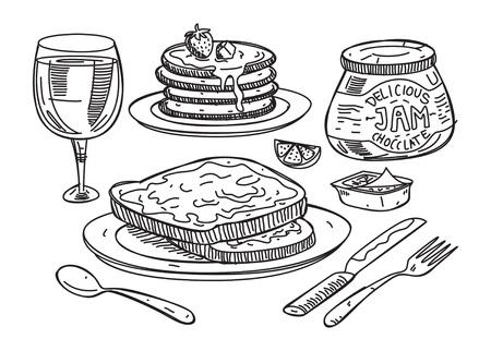 Sketchy illustration of breakfast food. Иллюстрация