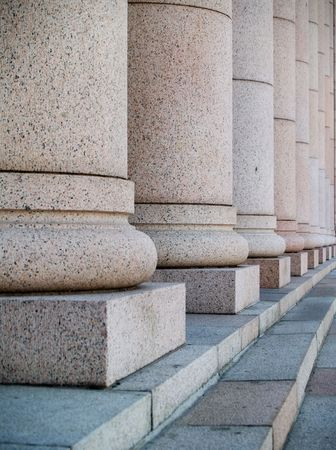 helsinki: Columns at the houses of parliament in Helsinki, Finland Stock Photo