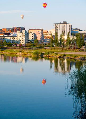 Hot air balloons over Helsinki.