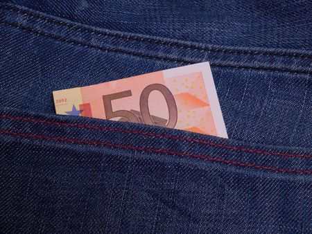 A 50 euro bill in the back pocket of jeans.