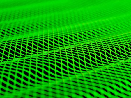 A wavy green grid with a shallow DOF.