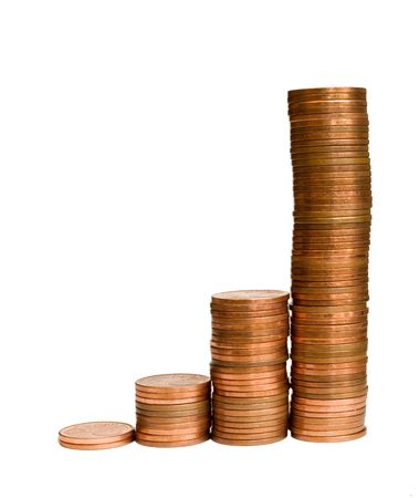 A row of coin stacks representing increase of profit, turnover, etc. Stock Photo
