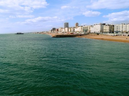 A view of the Brighton Beach, UK, in summer