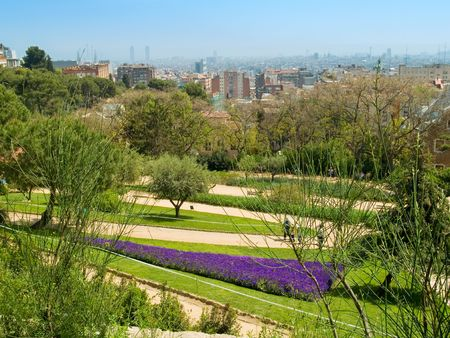 A view of Barcelona from the green Park Guell photo