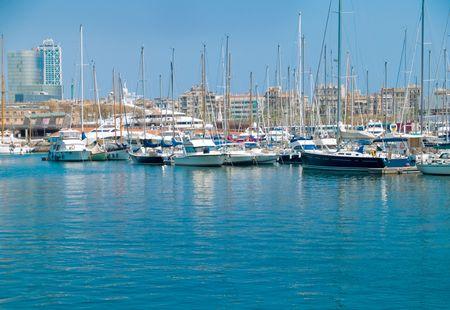 Luxury yachts in the Barcelona marina Stock Photo - 1194642