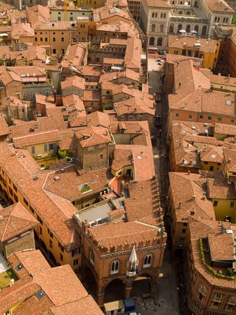 An aerial view of Bologna rooftops.