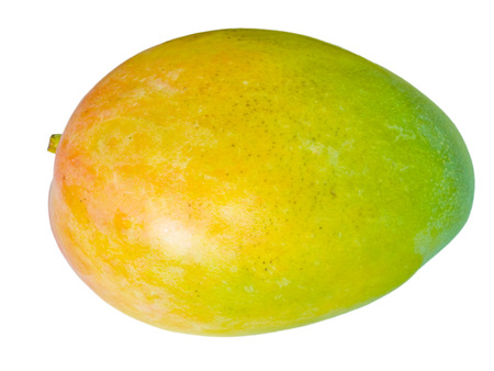 A colorful mango isolated on a white background