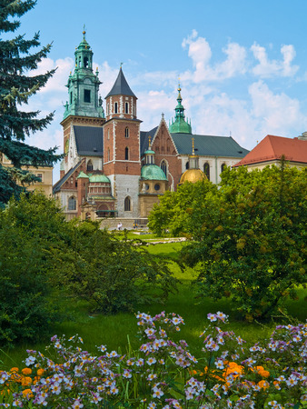 Wavel Castle Cathedral and the park in Cracow, Poland photo